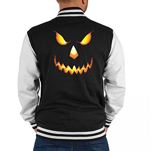 USA Biker College-Jacke für Herren - gruseliges Kürbisgesicht - tolle Geschenk-Idee für Halloween Fans, Größe:S (College Halloween Ideen Männer)
