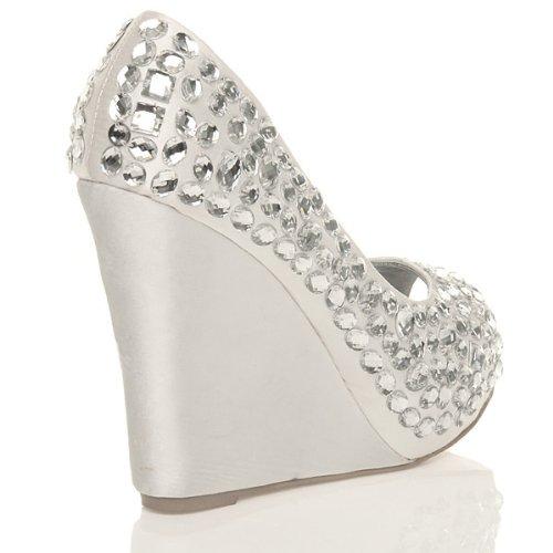 Donna gemme tacco alto zeppa sandali con plateau scarpe punta aperta taglia Bianco