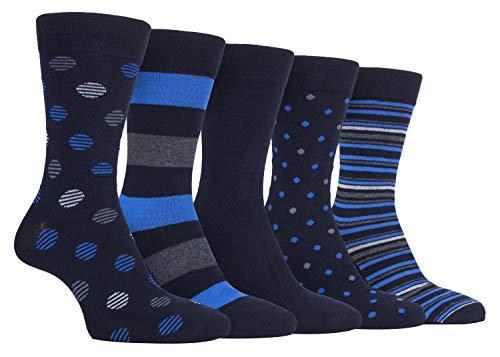 FARAH® - 5er Pack Herren Atmungsaktiv Bunt Bambussocken/Socken mit Punkte und Gestreift (39/45, CS241NVYBLU)