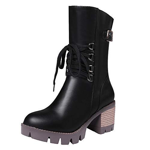 Bottes Femme, Manadlian Bottines à Talons Haute Femme Hiver Chaud Vintage Cuissardes en Cuir Imperméables Bottines Chaussures 3CM Lace-UP Shoes