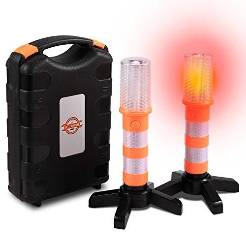 LED Warnleuchte Warnblitzer Orange mit Magnetisch Basis für KFZ und LKW, Wasserdicht Warnblinkleuchte Pannenhilfe Warnlicht Warnsignal mit 3 Modus für Auto Erste Hilfe Notfall