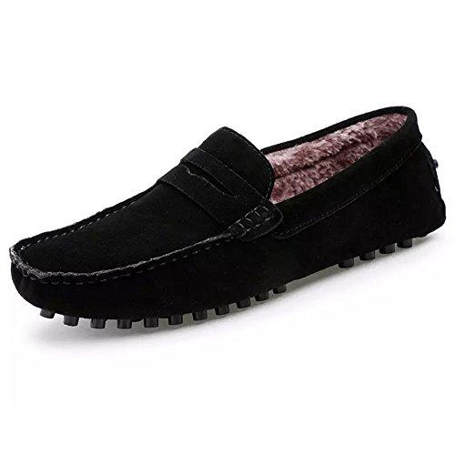 ROSEUNION Herren Winterstiefel Warm Gefütterte Mokassins Bootsschuhe Wildleder Loafers Schuhe Flache Fahren Halbschuhe Slippers Schwarz