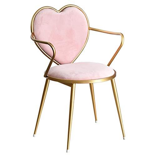 SS-Lounge-Sessel Café Arbeitsstuhl Computerstuhl Süß Herzförmiger Make-up-Stuhl Geschenk (Color : Pink, Size : 80 * 46 * 41cm) ()
