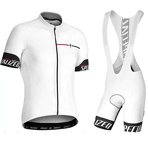 Maglia da ciclismo da uomo set manica corta in jersey + salopette da ciclismo maglie ciclismo traspirante set completo da ciclismo a asciugatura rapida white-l