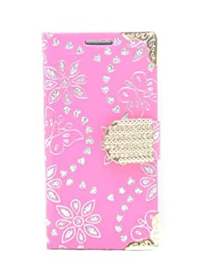Samsung Galaxy S4 Mini i9190 - Hot Pink Faux Leather Case / Card Holder - inlaid with Glitter detail Hearts, Flowers and Butterflies and with a gold Trim and Bling Buckle - Accessories for Mobile Phones