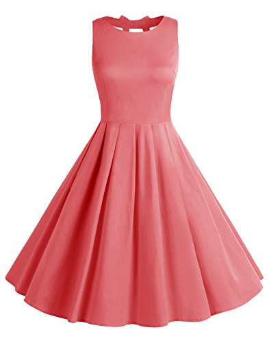 BeryLove Frauen Vintag 50s Polka Dot Bowknot Retro Swing Cocktailparty Kleid BLV8001 Coral M