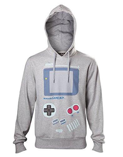 Meroncourt Herren Kapuzenpullover Nintendo Men's Gameboy Handheld Console Print Hoodie, Large, Grey (Hd610001Ntn-L), grau