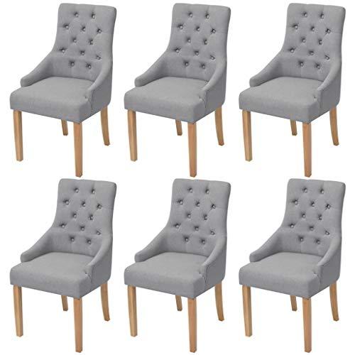 Tidyard Wohnzimmerstuhl Bürostuhl Eichenholz Esszimmerstühle 6 STK. Stoff Hellgrau Küchenstuhl Holzfüße