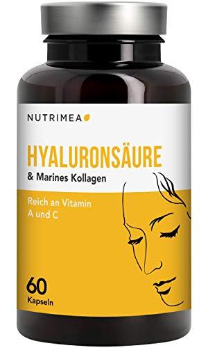 Hyaluronsäure Kapseln Hochdosiert 400 mg - Premium Hyaluron + Marines Kollagen Angereichert mit Vitamin C + Vitamin A - für Haut, Anti-Aging & Gelenke - Vegane Kapselhülle