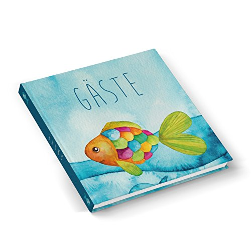Hochwertiges Gästebuch maritim blau türkis BUNTER FISCH 21 x 21 cm 100 Seiten Hardcover - Geschenk für Taufe Kommunion Firmung Geburtstag Jungen und Mädchen - auch für Angler