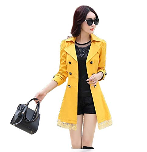 VITryst Womens Belted Design Double Button Slim Fitted Lace Trim Trench Coat Yellow L Black 3/4 Sleeve Belted