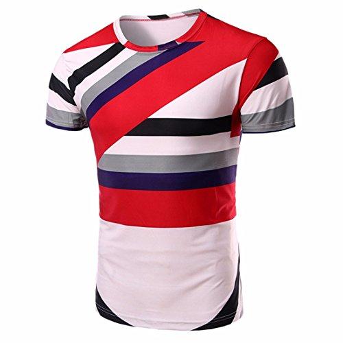QIYUN.Z Kurze Ärmel Rundhalsausschnitt Lässige T-Shirts Stilvoller Streifen Druck Männer Stil 4
