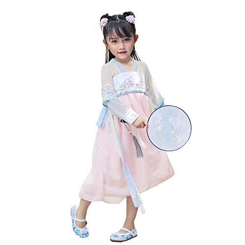 JIE. Mädchen verbessern chinesische Kostüme Baby Retro-chinesischen Stil Stickerei Kinderbekleidung Märchenprinzessin Kleid tägliche Kleidung-kulturelle Kostüme,130cm