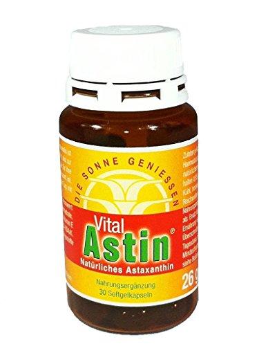 Astaxanthin Kapseln - versandkostenfrei - VitalAstin 30 Kapseln mit 4 mg natürlichem Astaxanthin + natürliches Vitamin E - Tocopherol - Das Original Ivarssons Produkt