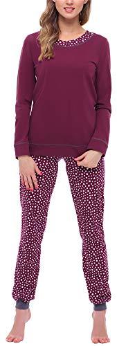 Merry Style Damen Schlafanzug MS10-236 (Weinrot/Sterne, L)