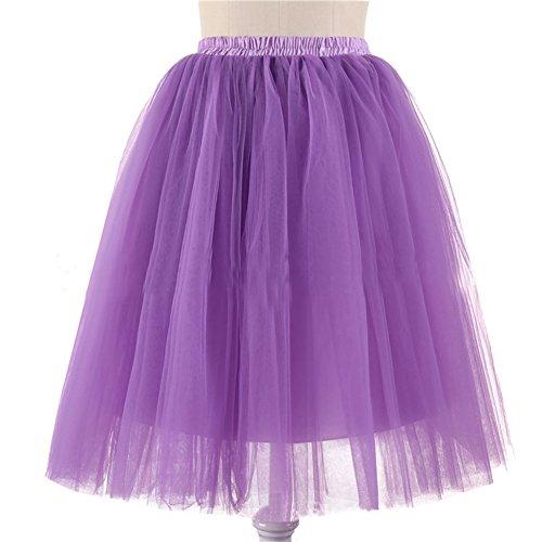 Honeystore Damen's 5 Layer Knielanger Rock Elastic Bund Tutu Prinzessin Tütü Tutu Petticoat Ballettrock One Size Lavendel (Tote Ballerina Halloween Kostüme)