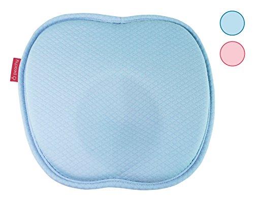 HALLO WELT Baby-Kissen Memory-Schaum I Mit Mulde Gegen Plattkopf I Waschbarer Baumwolle Bezug I Kopfkissen Für Rückenlage I Druckentlastendes Baby-Kopfkissen Verformung (blau)
