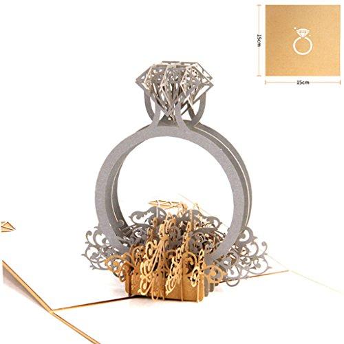 (JAGETRADE 3D Pop up Ring Hochzeitseinladung Karte Geburtstag Weihnachten Muttertag Gif)