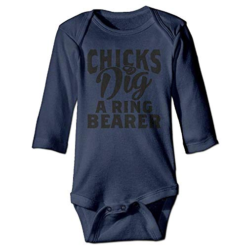 MSGDF Unisex Toddler Bodysuits Chicks Dig A Ring Bearer Boys Babysuit Long Sleeve Jumpsuit Sunsuit Outfit Navy -