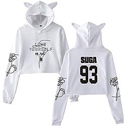 KPOP BTS Love Yourself Sudadera con Capucha de Lágrima Cat Ears Gorra de Manga Larga con Capucha Kawaii Sudadera con Capucha de Moda Sexy Navel expuesta para Mujer Top Casual