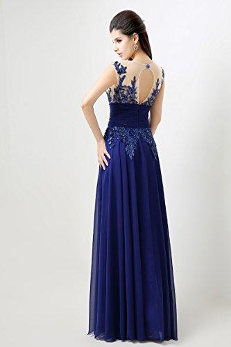 Sarahbridal Damen Lang Chiffon Ballkleid Brautjungfernkleid Perspektive Ausschnitt Abendkleider SSD159 Rot - Rot