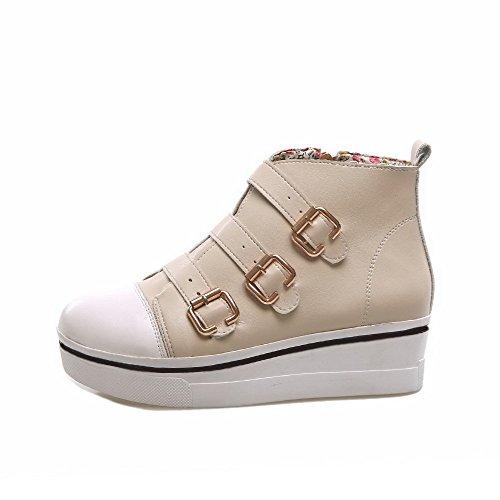 AllhqFashion Damen Pu Gemischte Farbe Reißverschluss Mittler Absatz Stiefel Cremefarben