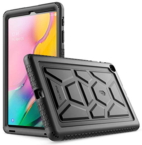 POETIC Galaxy Tab A 10.1 2019 Hülle, Heavy Duty Schütz Silikon Hülle mit Klangverstärkend Feature,TurtleSkin Reihe, Hülle für Samsung Galaxy Tab A 10.1 2019 (SM-T510/T515),Schwarz Silikon-schutz