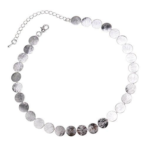 ellbare Dünne Pailletten Choker Halskette Für Frauen Geschenk Party Täglich Casual Kostüm Schmuck Zubehör,Silver (Kostüm Schmuck Kollektion)