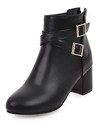 Aisun Femme Fashion Talon Bloc Low Boots Martin Bottes Avec Boucles Noir