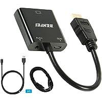 Adaptador HDMI a VGA, cable convertidor de HDMI a VGA, con audio chapado en oro, para ordenador portátil, Xbox 360One, PS4,PS3, de Benfei
