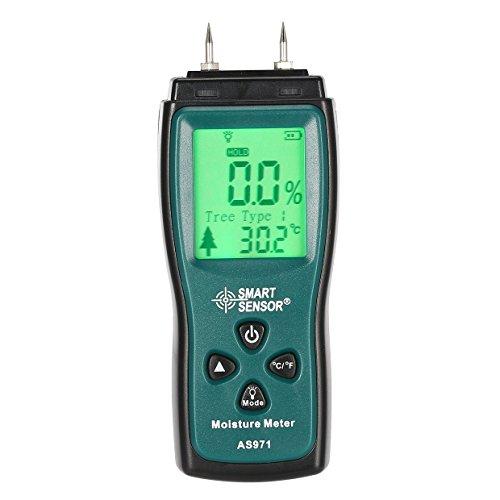 Ballylelly Smart Sensor AS971 Holzfeuchtigkeitsmessgerät Feuchtigkeit Tester Holz Feuchtmessgerät Digital LCD Display Detektor Bereich 2% -70%