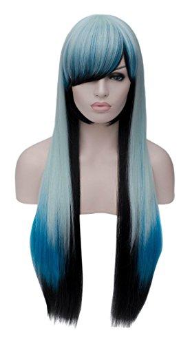 CLOCOLOR Manga Cosplay Perücke Ombre Blau Langhaar Glatt ca.70cm Wig mit Pony Natürliche Synthetische Hitzebeständige Kunsthaar Hellblau Blau und ()