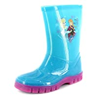 New Girls/Childrens Turquoise Frozen Character PVC Wellington Boots. - Turquoise - UK Sizes 6-12