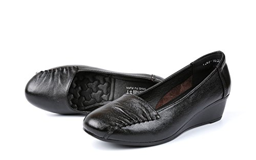 Damen Bequem Freizeitschuhe Rund Zehen Anti-Rutsche Keilabsatz Atmunsaktiv Hausschuhe Schwarz