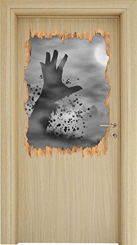 Monocrome, erwachender Zombie Holzdurchbruch im 3D-Look , Wand- oder Türaufkleber Format: 92x62cm, Wandsticker, Wandtattoo, Wanddekoration