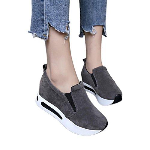 Laufende Lässige Schuhe Frauen,Damen Mode Elegant Reise-Schuhe Zunehmende Wedges Thick Bottom Schuhe Britischen Stil Vier Jahreszeiten Wildleder Sportschuhe (CN:37/ EU:36, Grau)