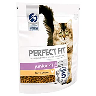 Perfect Fit Junior Dry Cat Food Advanced Nutrition for Young Cats and Kittens from 2-12 Months with Chicken, 3 Bags (3 x 750 g)