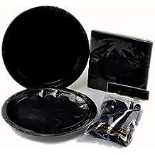 Party Set schwarz 60-teilig, Partygeschirr für Familienanlässe, Partys, Halloween
