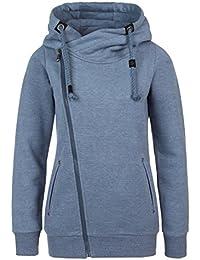 SUBLEVEL Sweatjacke mit Zipper & Kapuze   Cooler Damen Hoodie - schräger Reißverschluss, Uni-farben