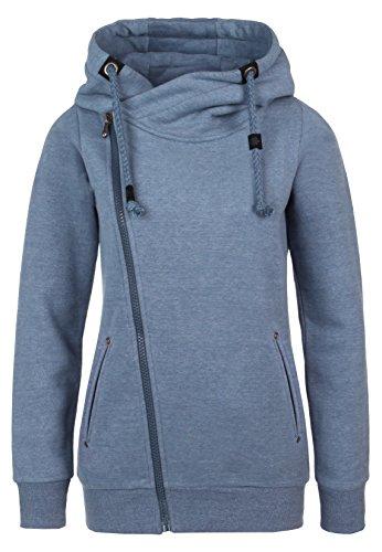 SUBLEVEL Sweatjacke mit Zipper & Kapuze | Cooler Damen Hoodie - schräger Reißverschluss, Uni-farben middle-blue XS