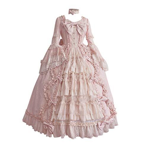 Hexe Glam Kostüm - Allence Rüschen Spitze Langarm/Kurzarm Kleid Victorian Classic Gothic Lolita Kostüm Cosplay