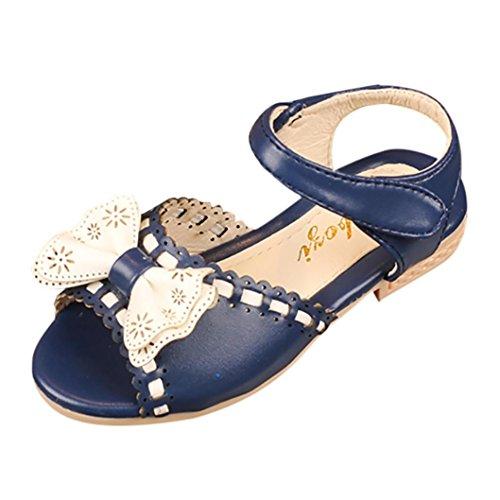 Elecenty Sandalen Bowknot Mädchen,Party Schuhe Shoes Offene Prinzessin Sandaletten Sommerschuhe Elegante Bequeme Badesandalette Freizeitschuhe Strandschuhe (30, Blau)