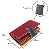 Leather Wallet Best Leather Purse for Women Ladies Small RFID Blocking Red Wallet Multi coloured Designer Hand Stitched Soft Nappa Compact Bi-fold Credit Card Holder with Coin Compartment Pocket