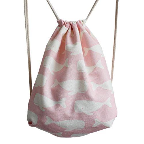 Canvas Turnbeutel Sportbeutel Rucksack Schultaschen Backpack Wal Pink (Canvas-baumwolle-schuhbeutel)