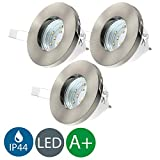 3x3W LED Focos empotrables de baño Ø85mm GU10 IP44, Blanco Cálido 3000K 250lm, profundidad 75mm, Color plata,