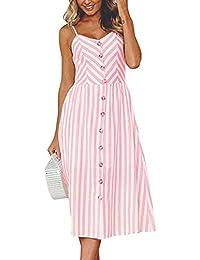 fd7dccab261 Toamen Women s Summer Dress - Off Shoulder - Stripe Buttons - Sexy Fashion  Sleeveless Sling Evening…