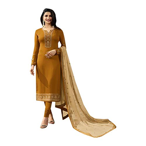 SHRI BALAJI SILK & COTTON SAREE EMPORIUM Mustard Seiden-Georgette-Churidar-Salwar-Anzug mit bedrucktem Dupatta für Damen-Indianer-Designerparty-Bekleidung 7701 Georgette Churidar