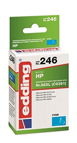 edding 18-246 Druckerpatrone EDD-246, Ersetzt: HP Nummer 88XL (C9391), Einzelpatrone, cyan - 88 Cyan Inkjet