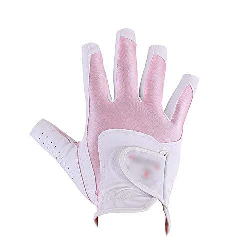 Unisex Golfhandschuhe Fingerlose Anti-Rutsch-Handschuhe für Damen Golf Soft-Atmungsaktive Handschuhe Anti-Rutsch-Flexibel Golf-Golfhandschuhe Weiß Rosa Für Herren Damen Links und Rechts
