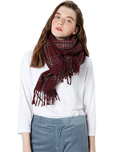 MaaMgic Schal Damen Warm Herbst unifarben Baumwolle mit quasten/fransen, 40+ Farben Einfarbig & Kariert Pashmina xl Schals Stola MEHRWEG Kariert Dunkel Rot